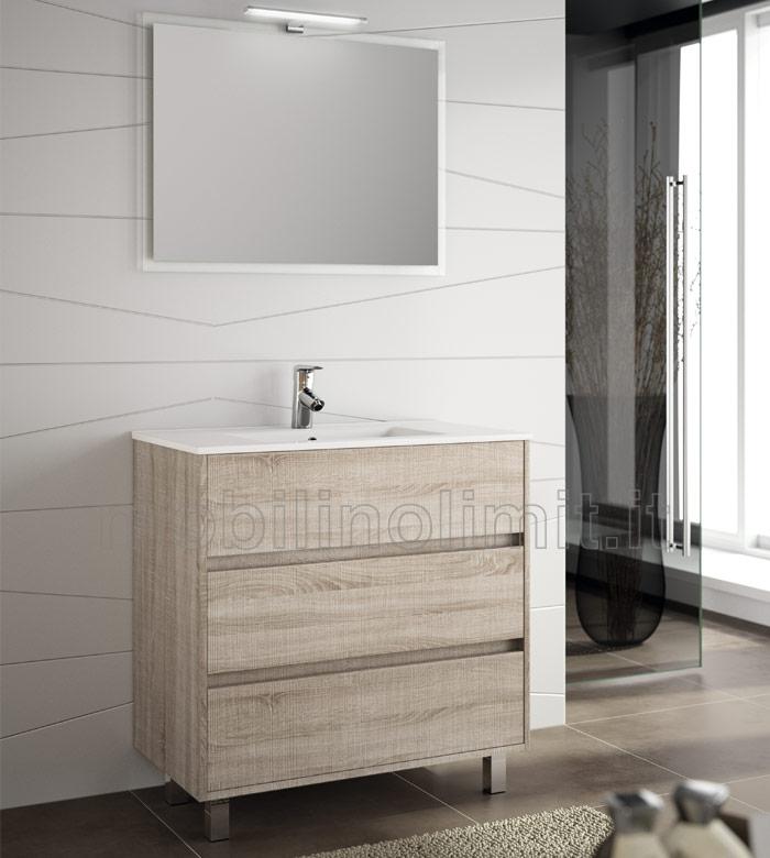 Mobile bagno moderno con piedini L. 80 - Caledonia