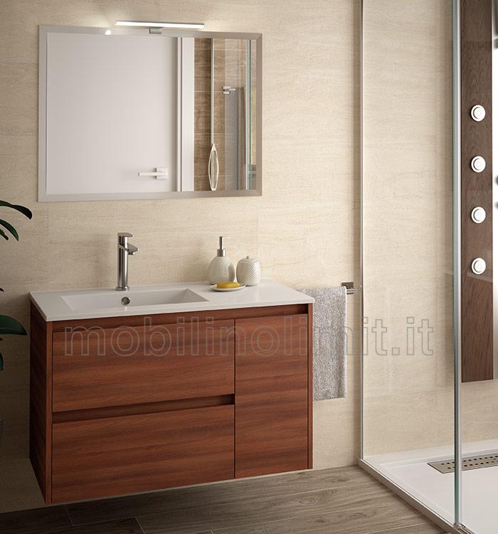 Mobile bagno moderno con lavabo l 85 acacia marrone - Bagno con sale ...