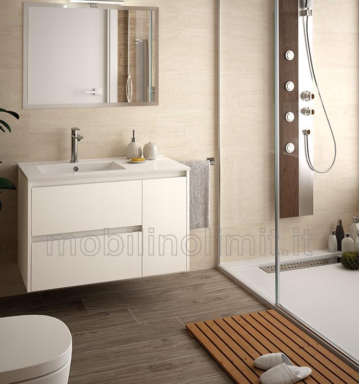Mobile bagno moderno con lavabo l 85 bianco lucido for Mobile bagno moderno bianco
