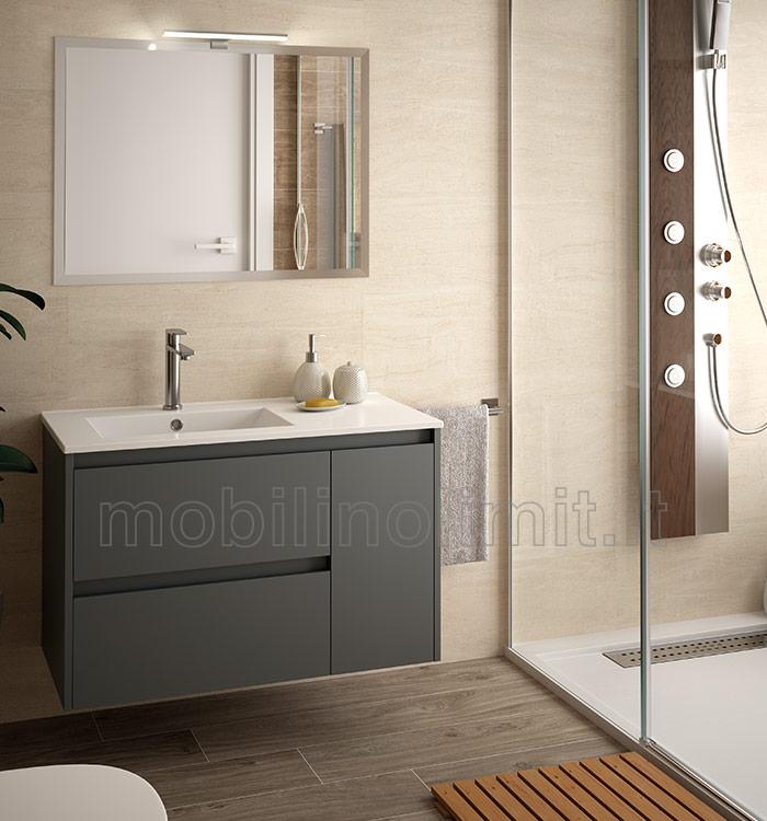 Mobile bagno moderno con lavabo L. 85 - Grigio Opaco
