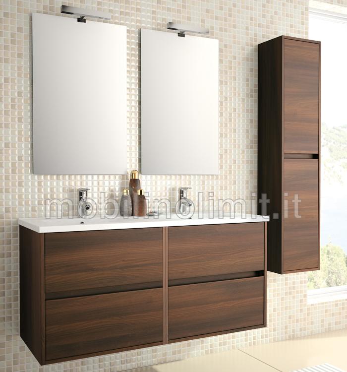 mobile bagno con doppio lavabo acacia marrone