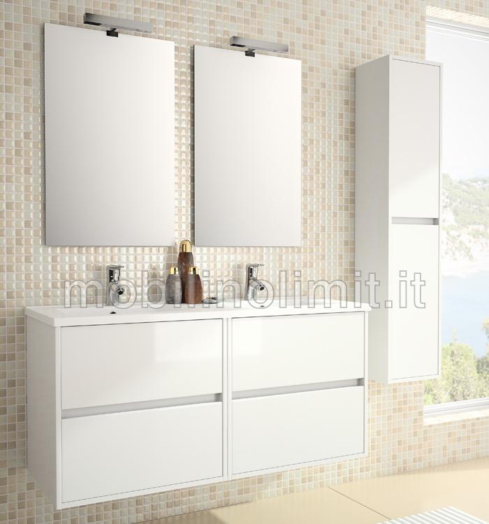 Mobile bagno moderno doppio lavabo - L.120 - bianco