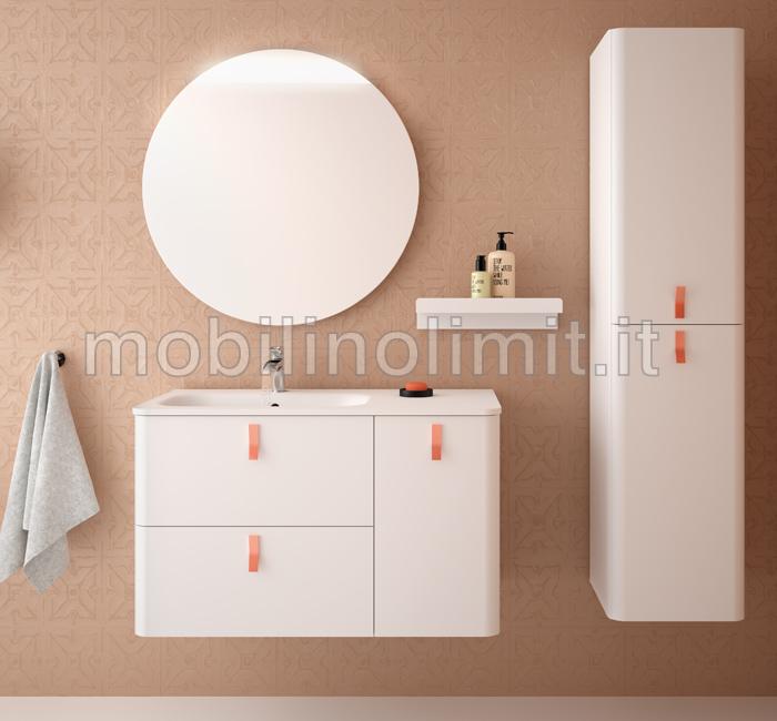 Mobile bagno sospeso bianco opaco linea uniiq for Larghezza mobile bagno