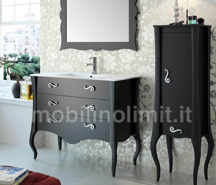 Mobile bagno nero 3 cassetti con lavabo - Lavabo nero bagno ...