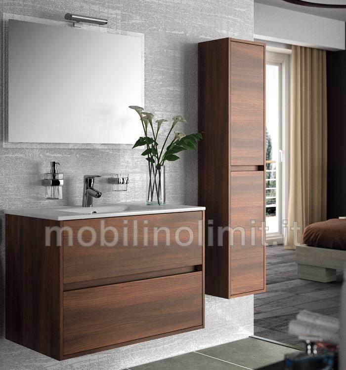 Mobile bagno moderno con lavabo acacia marrone - Mobile bagno sospeso 80 cm ...