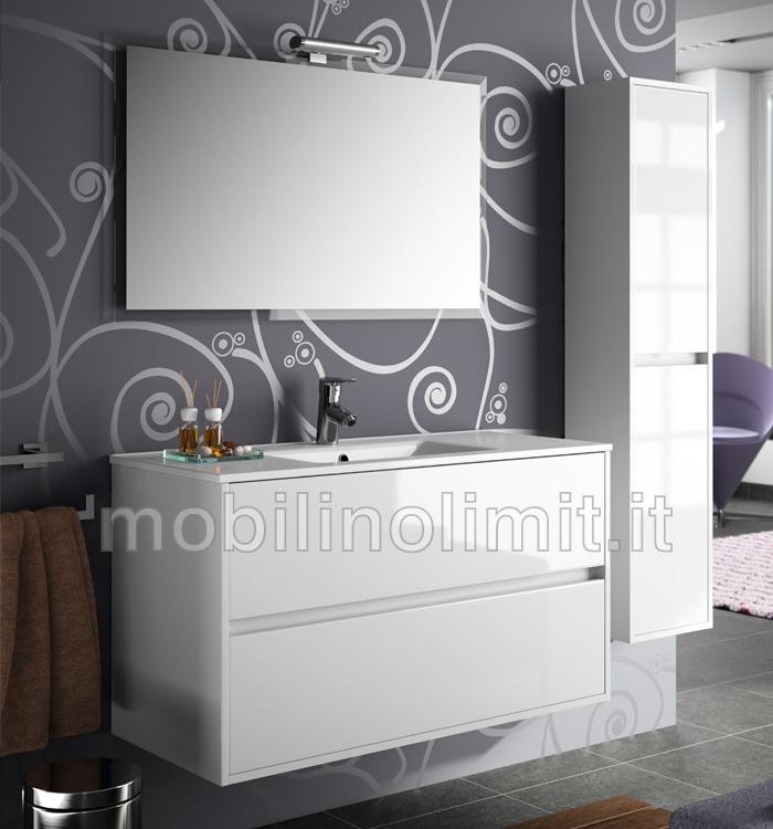 Mobile bagno moderno con lavabo - L.100 - Bianco
