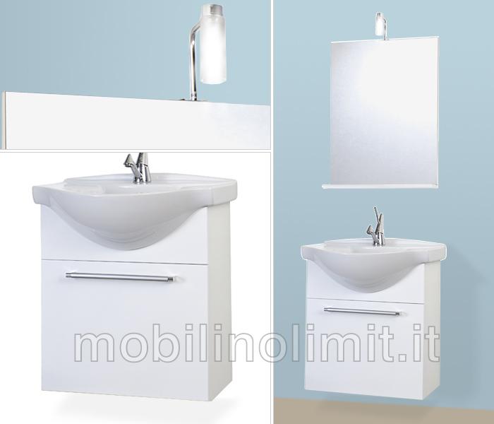 Mobile bagno sospeso bianco lucido for Offerte bagni completi moderni
