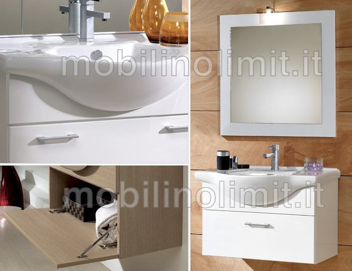 Mobile bagno sospeso bianco lucido 55 cm - Mobile bagno bianco lucido ...