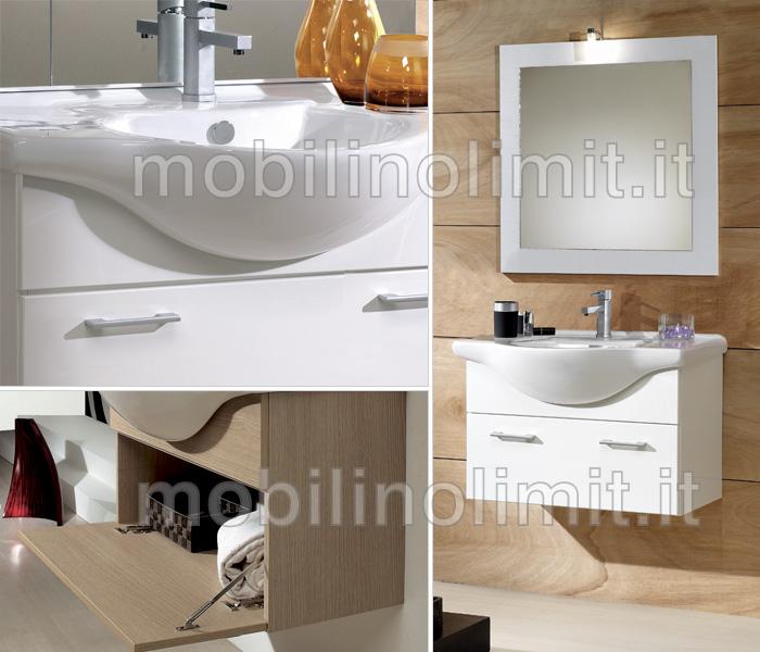mobile bagno sospeso bianco lucido 105 cm