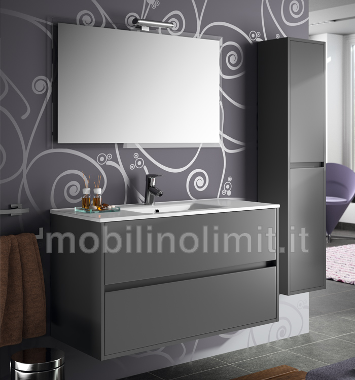Mobile bagno moderno con lavabo   l.100   grigio opaco