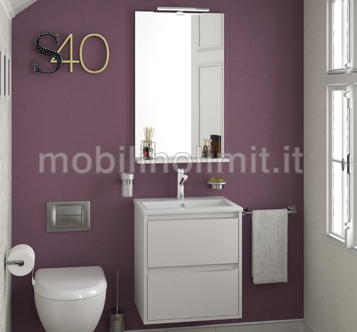 Mobile bagno sospeso salvaspazio s40 bianco for Mobile bagno salvaspazio
