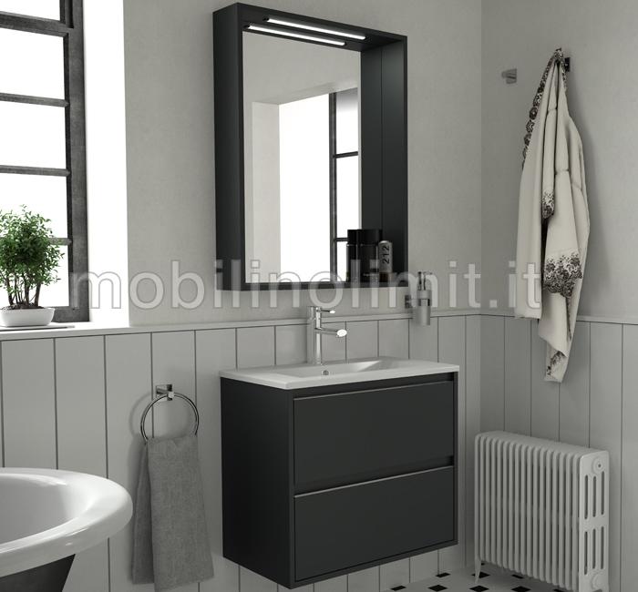 Mobile bagno sospeso salvaspazio s40 grigio for Mobile bagno salvaspazio