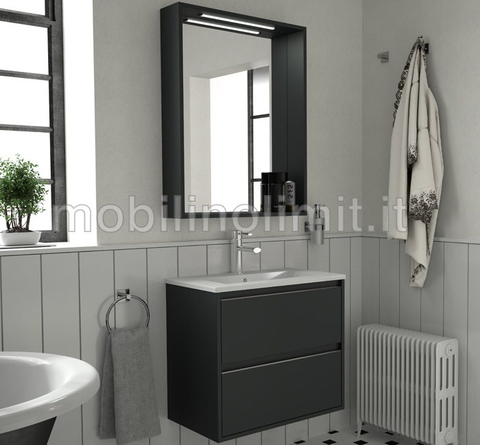 mobile bagno sospeso salvaspazio s40 grigio