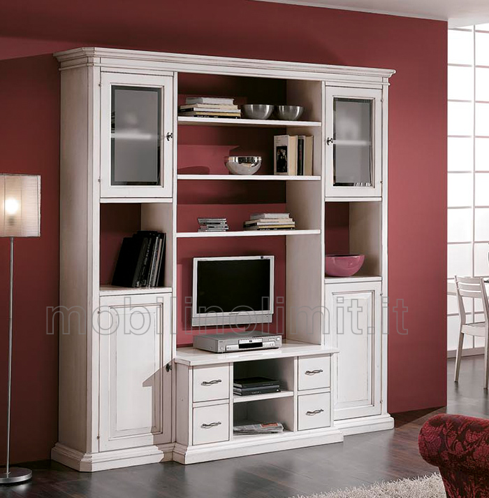 Parete attrezzata smontabile con vano porta tv bianco spigolato - Parete soggiorno classica ...