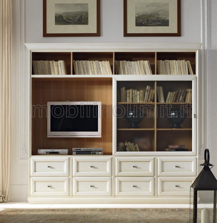 Parete attrezzata con porta tv a scomparsa composizione 6 - Parete attrezzata bianca ...