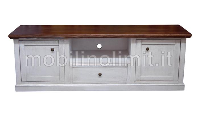 Porta Tv 2 Ante 1 Cassetto - Bianco Decapato