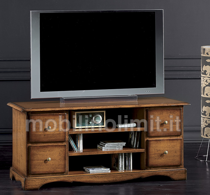 Porta tv classico 4 cassetti grezzo - Porta televisore classico ...