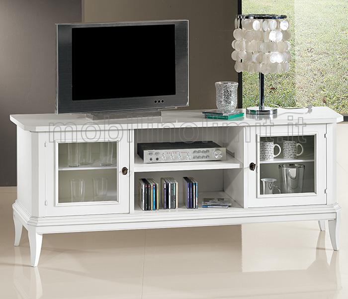 Porta televisore con cornice bianco opaco - Porta televisore in vetro ...