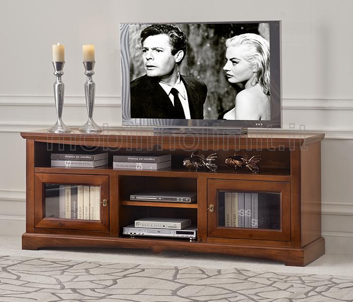 Porta tv con 2 ante in vetro noce medio - Porta televisore in vetro ...