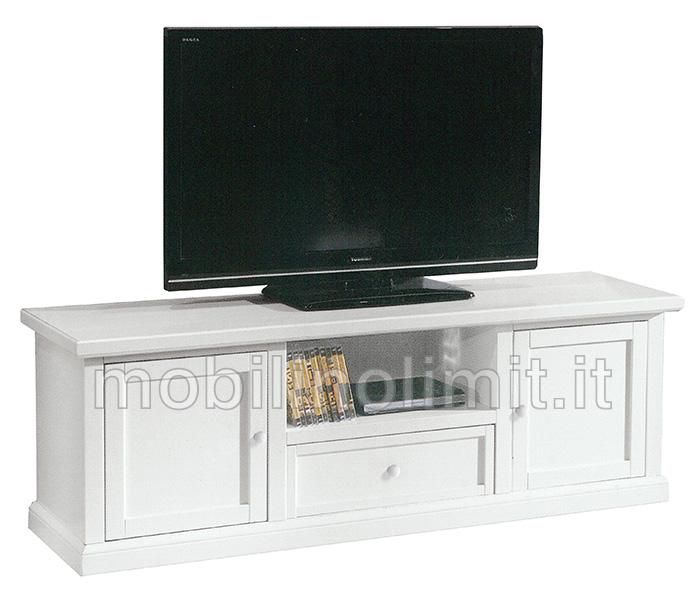 Porta tv bianco opaco con 2 ante e 1 cassetto - Mobili porta tv arte povera ...
