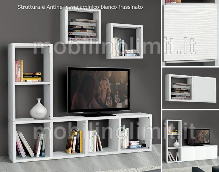 Mobile Tv Moderno Sospeso : Porta tv bianco frassinato