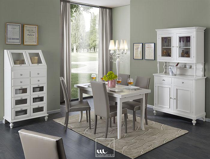 Sala da pranzo con dispensa bianco opaco - Sale da pranzo contemporanee ...