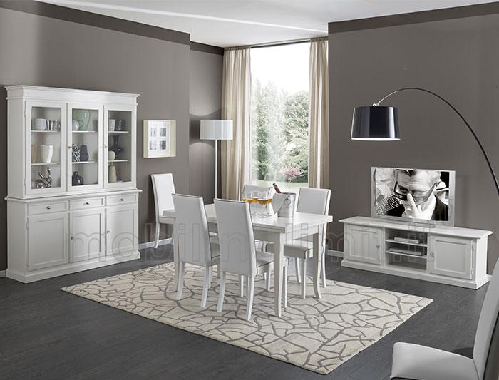 Sala da pranzo con porta tv bianco opaco - Sale da pranzo contemporanee ...