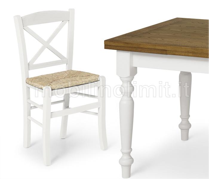 Sedia in legno faggio con spalliera incrociata - Bianco Opaco