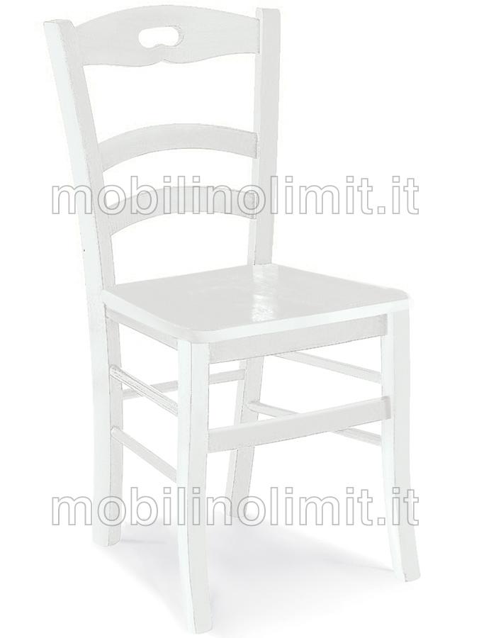 Sedia in faggio bianca con seduta in legno - Sedia bianca legno ...