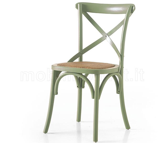 Sedia olmo verde seduta in rattan naturale - Sedia in rattan ...
