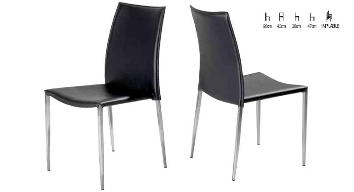 Sedie Moderne Pelle E Acciaio.Sedia In Pelle Rigenerata E Acciaio