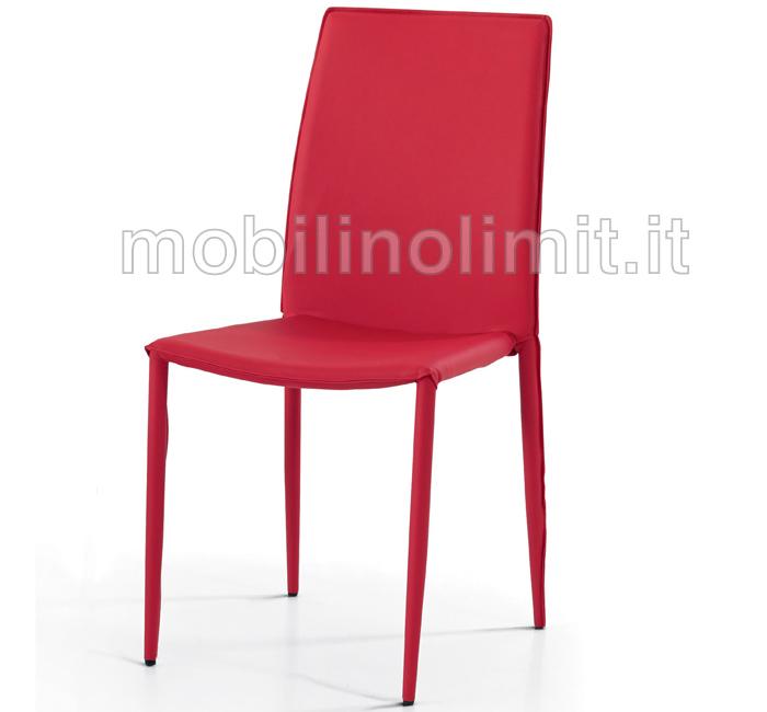 Sedia in ecopelle rossa for Sedia rossa