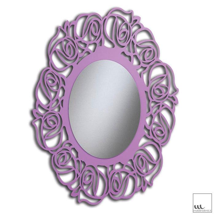 Mobile Bagno Lilla : Specchiera lilla madreperla