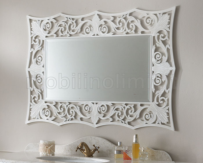 Specchio con cornice decorativa gigli bianca - Specchio cornice bianca ...