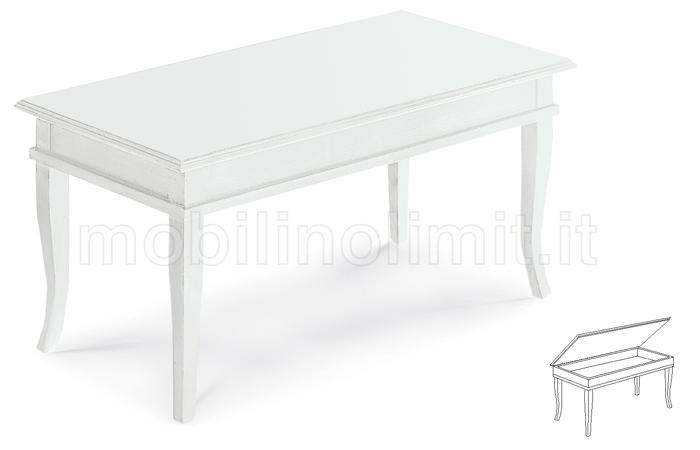 Tavolini In Legno Bianco : Tavolino bacheca piano in legno bianco opaco
