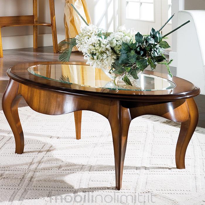 Tavolino Classico Ovale Da Salotto Con Vetro Grande Noce Medio Fume