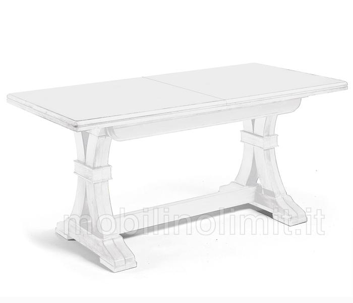 Tavolo Legno Bianco Decapato.Tavolo Allungabile Bianco Opaco 160x85