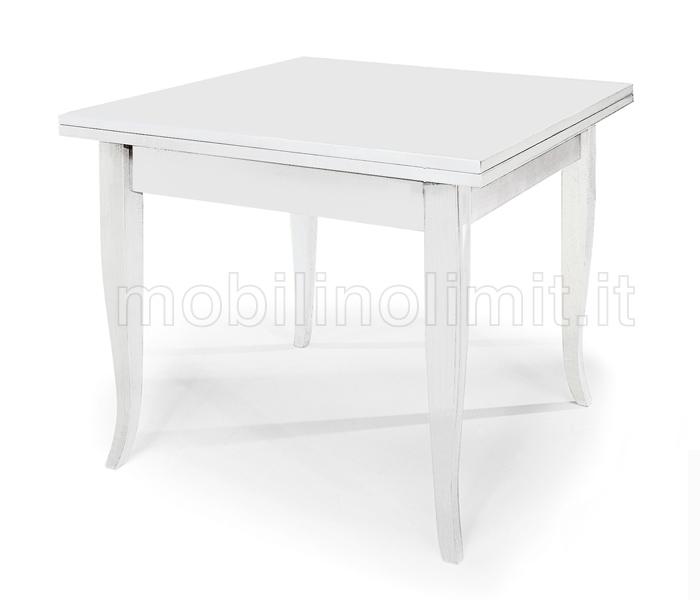 Tavolo Arte Povera Quadrato.Tavolo Allungabile A Libro 100x100 Bianco Opaco