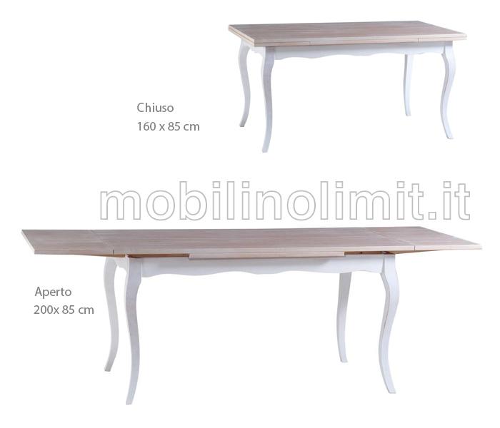 Tavolo allungabile 160x85 shabby chic for Tavolo e sedie shabby chic