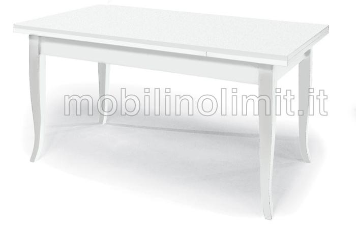 Tavolo con allunghe 140x80 bianco opaco for Tavolo 140x80 allungabile legno