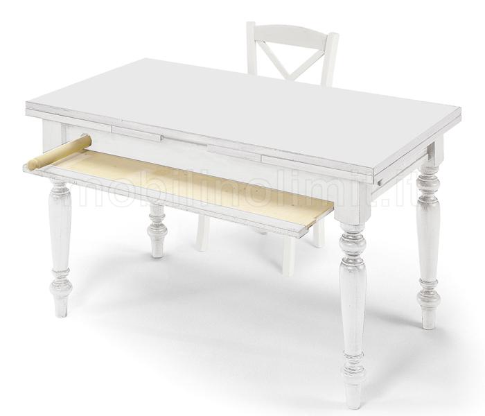 Tavolo Da Cucina Bianco Allungabile.Tavolo Da Cucina Attrezzato 140 Cm Bianco Opaco