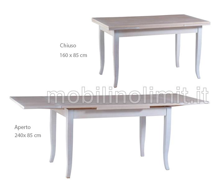 Gambe A Sciabola Per Tavoli.Tavolo Allungabile 160x85 Shabby Chic