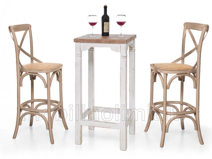Tavolo bar bianco shabby con piano legno naturale - Tavolo legno naturale ...
