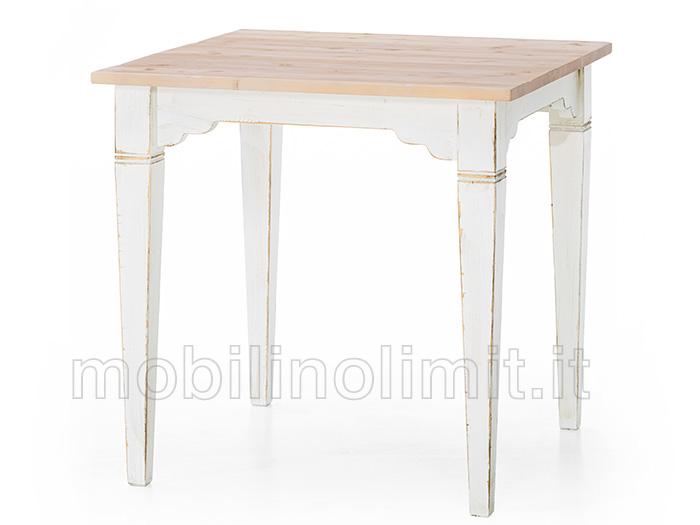 Legno Naturale Bianco : Tavolo bianco shabby con piano naturale