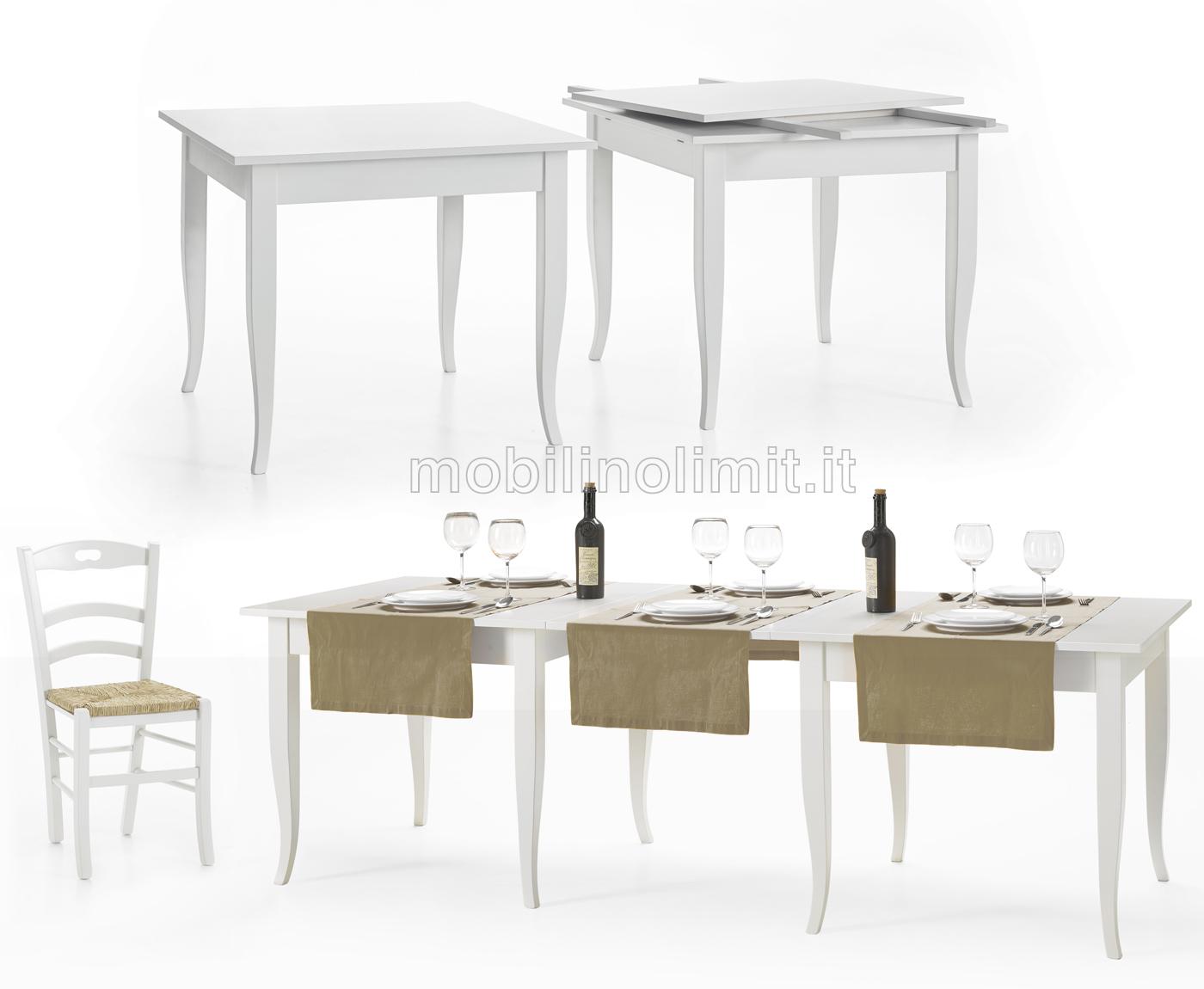 Tavolo fisso 80x80 bianco opaco for Costo del padiglione per piede quadrato