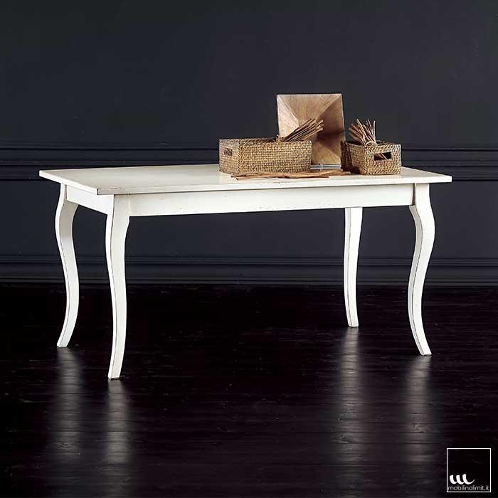 Tavolo fisso bianco consumato 140x80 - Tavolo bianco anticato ...