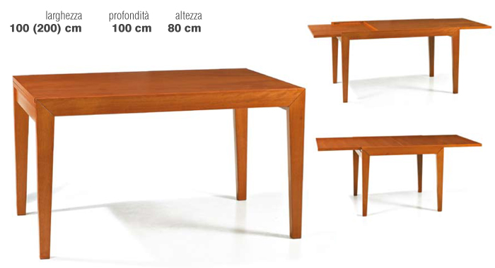 Tavolo moderno in faggio 90x90 for Tavoli in ciliegio moderno