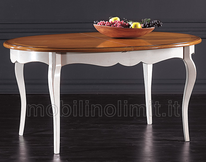 Tavolo Allungabile Ovale - Bianco e Noce