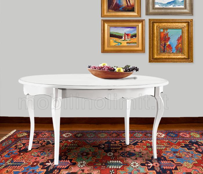 tavolo allungabile ovale bianco opaco