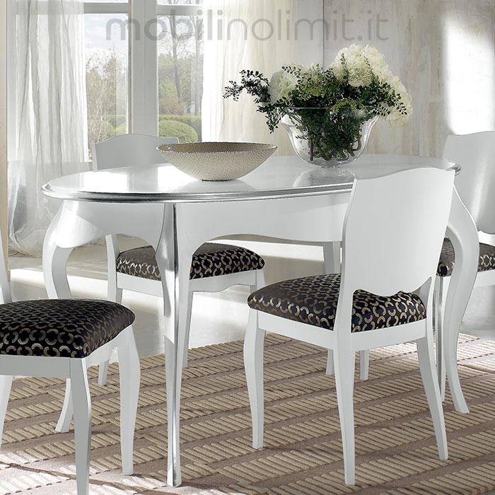 Tavolo Ovale Allungabile Con Gambe Curve Bianco E Foglia Argento